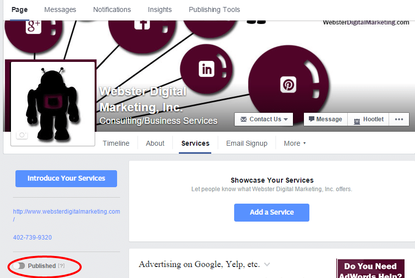 Publish Facebook Services