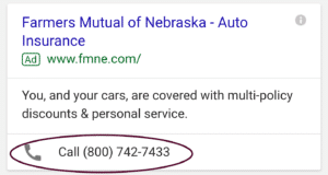Mobile search example with call extensions for AdWords